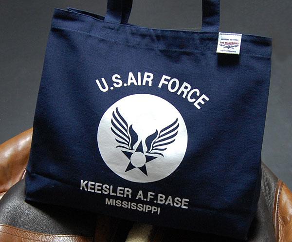 画像1: 肩がけ トートバッグ キャンバス地 USAFエアフォース 大容量 ネイビー 紺 (1)