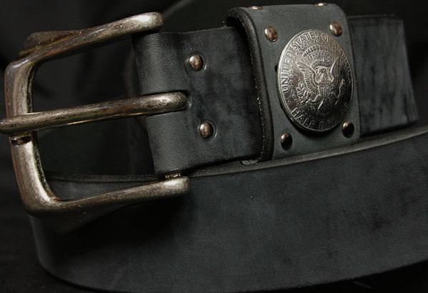 画像1: 日本製・コンチョ・極厚本革ベルト・マッドブラック (1)