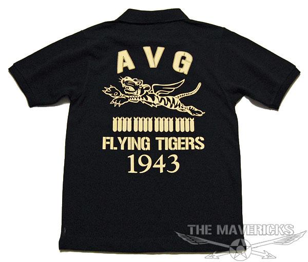 画像1: ミリタリー ポロシャツ AVGフライングタイガース 6.0オンス ヘヴィーウェイト / 黒 ブラック (1)