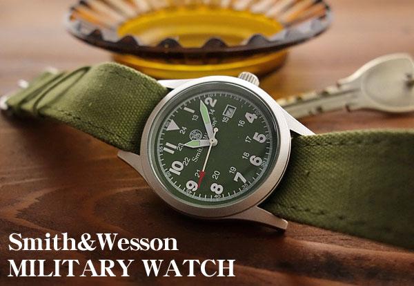 画像1: 腕時計 メンズ Smith & Wesson社 ブランド ミリタリーウォッチ ベルト3本セット 新品/オリーブ (1)