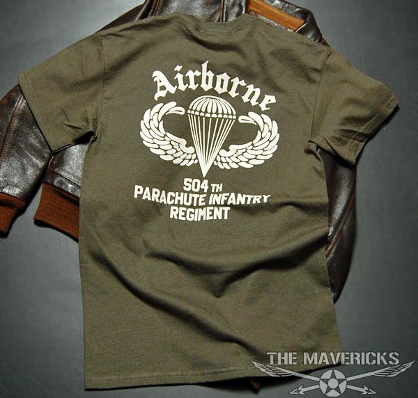 画像1: ミリタリーTシャツ 半袖 AIRBORNE エアボーン パラシュート部隊 オリーブドラブ (1)