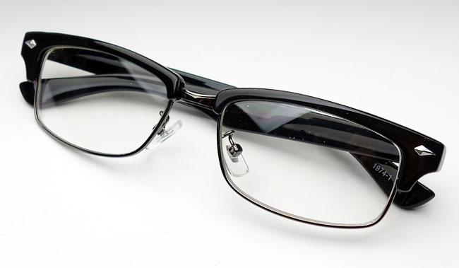 画像1: 細 サーモント型 伊達メガネ セル メタル レトロデザイン 新品/ブラック 黒 (1)