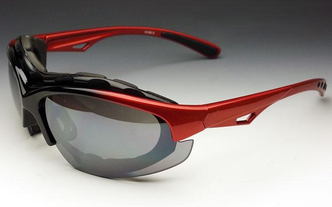 画像1: バイカーズシェイド パット外し 可能 バイク スポーツサングラス 新品 / 赤 レッド (1)