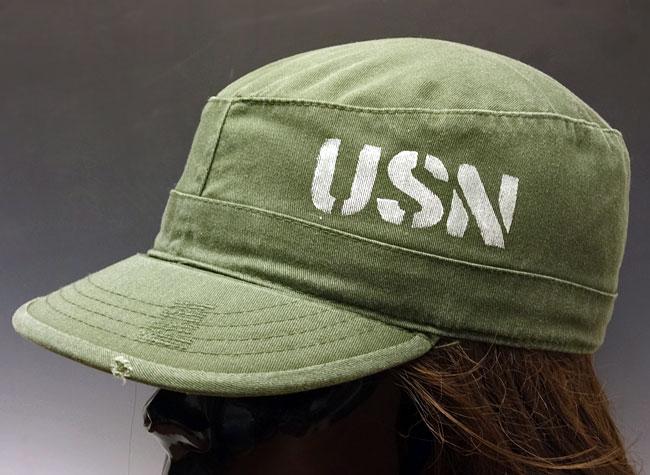 画像1: ミリタリーキャップ USN ステンシル ROTHCO ロスコ 社製 ビンテージ仕様 新品 / オリーブ (1)
