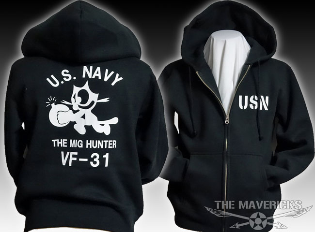 画像1: 10oz裏起毛・スウェットジップアップパーカー 米海軍NAVY 爆弾キャット/ブラック (1)