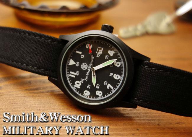 画像1: 腕時計 メンズ Smith & Wesson社 ブランド ミリタリーウォッチ ベルト3本セット 新品/ブラック (1)