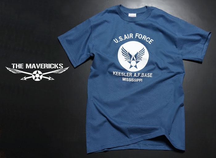 画像1: Tシャツ ロゴT US airforce メンズ ミリタリー USAF エアフォース MAVERICKS ブランド / 青 ブルー (1)
