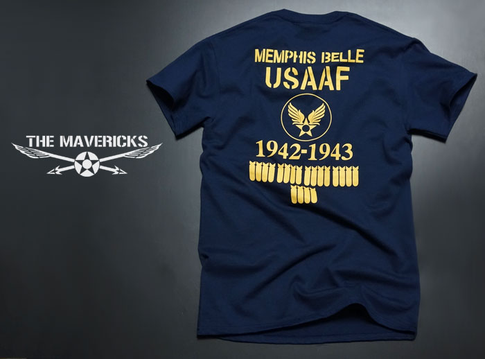 画像1: ミリタリー Tシャツ 半袖 爆弾エアフォース メンフィス ベル モデル / ネイビー 紺 (1)