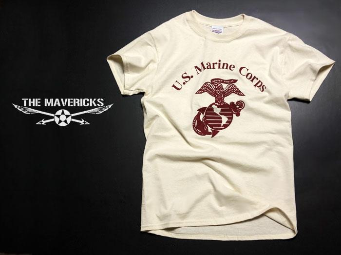 画像1: Tシャツ ミリタリー USマリン U.S.MARINE 米海兵隊 MAVERICKS ブランド / 生成り (1)