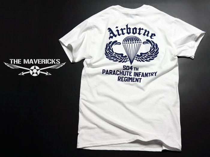 画像1: ミリタリーTシャツ 半袖 AIRBORNE エアボーン パラシュート部隊 / 白 ホワイト (1)