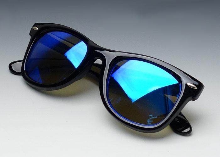 画像1: ブルーミラー サングラス ウェイファーラー同型 レトロ デザイン 黒青 新品 (1)