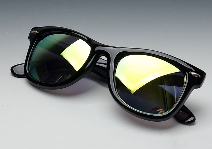 画像1: イエローミラー サングラス ウェイファーラー同型 レトロ デザイン 黒黄 新品 (1)