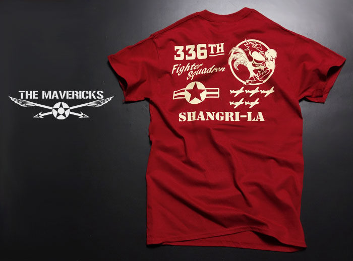 画像1: 第8空軍 シャングリラ ミリタリー メンズ Tシャツ 半袖 ロゴT / レッド 赤 (1)