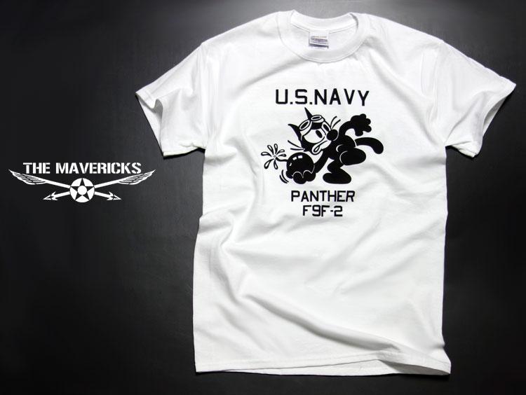 画像1: 米海軍NAVY・爆弾キャット猫・パンサーモデル「THE MAVERICKS」ミリタリーTシャツ / ホワイト 白 (1)