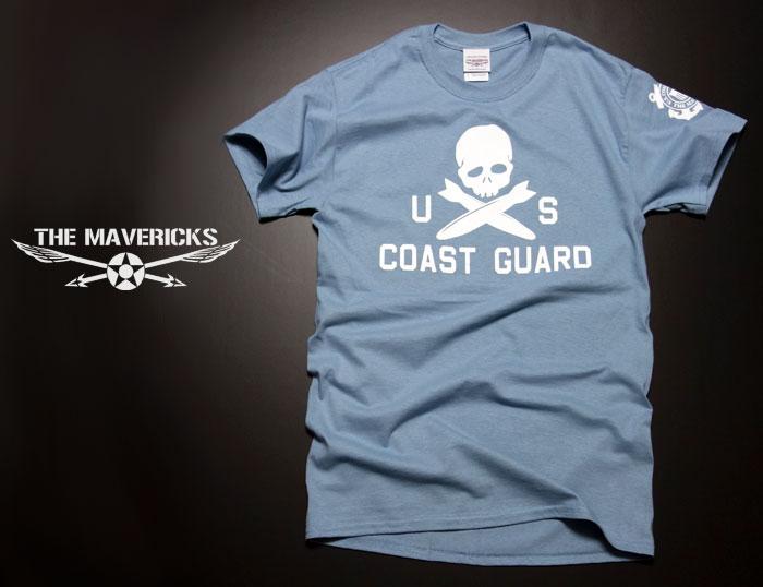 画像1: ミリタリーTシャツ 半袖 U.S.CoastGuard アメリカ沿岸警備隊 スカル / ブルーグレー (1)