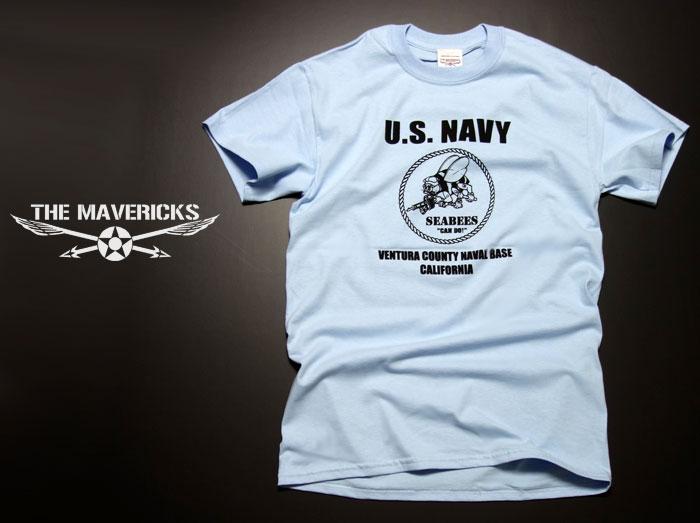画像1: 米海軍 NAVY Seabees 蜂 モデル THE MAVERICKS ミリタリーTシャツ 半袖 / 水色 ライトブルー (1)