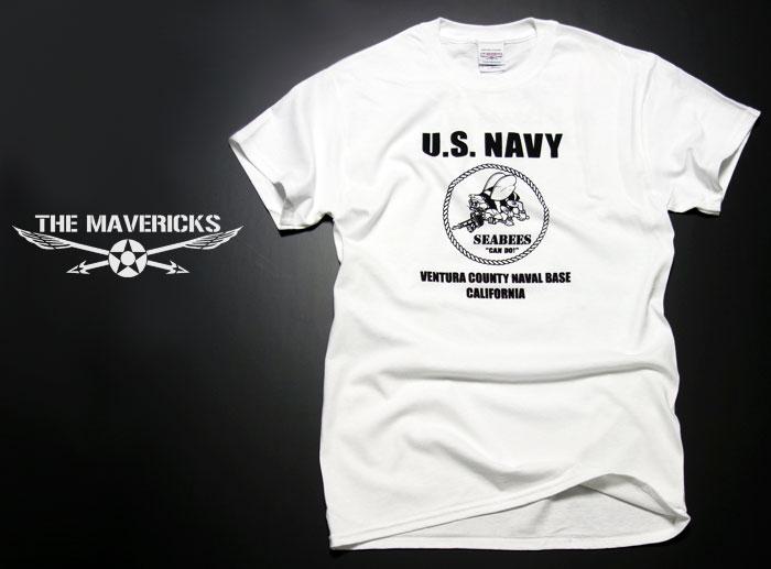 画像1: 米海軍 NAVY Seabees 蜂 モデル THE MAVERICKS ミリタリーTシャツ 半袖 / 白 ホワイト (1)