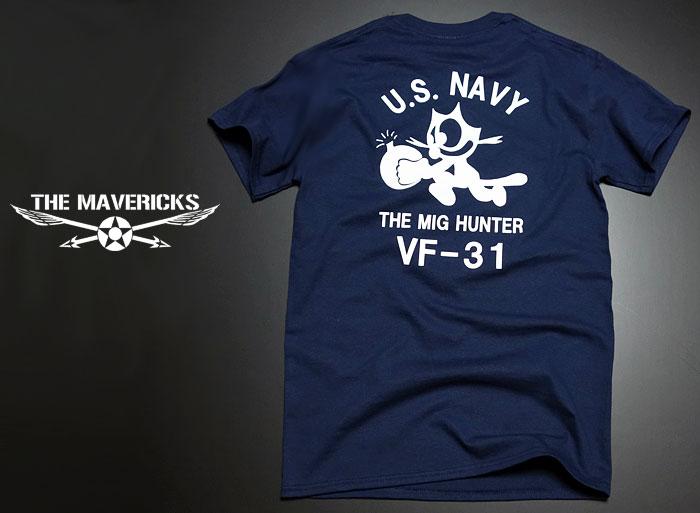 画像1: 米海軍NAVY・爆弾キャット猫「THE MAVERICKS」ミリタリーTシャツ・半袖/ ネイビー 紺 (1)