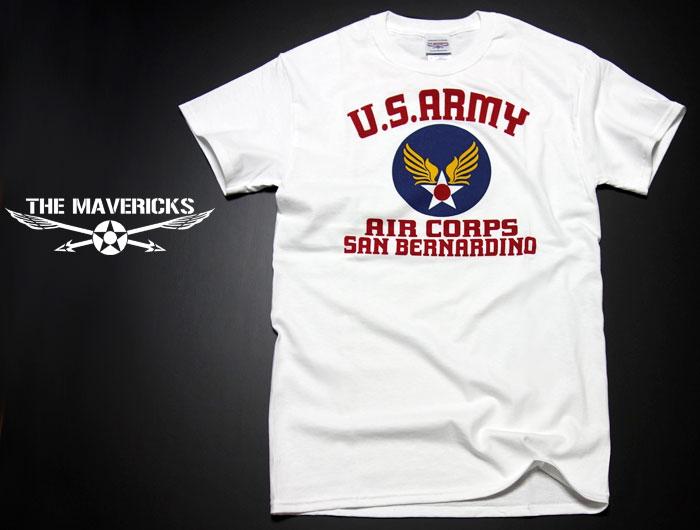 画像1: USAAC アメリカ 陸軍航空隊1940 ミリタリー Tシャツ US AIRFORCE ロゴT 半袖 / ホワイト 白 (1)