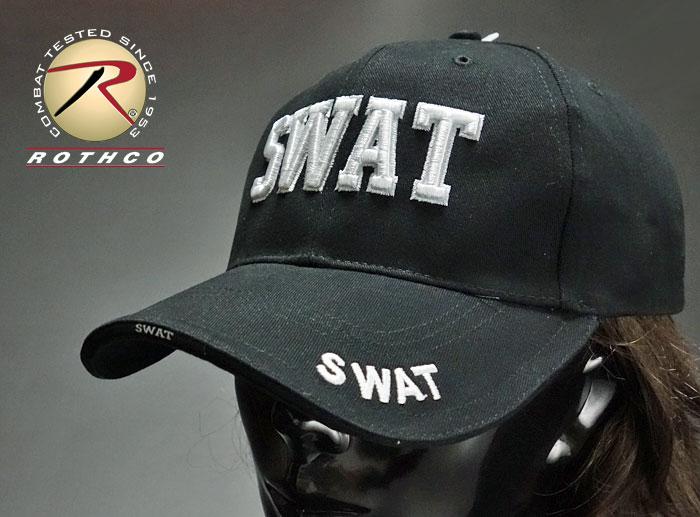 画像1: 帽子 メンズ ミリタリー キャップ ROTHCO ロスコ ブランド SWAT 特殊部隊 ロゴ / ブラック (1)
