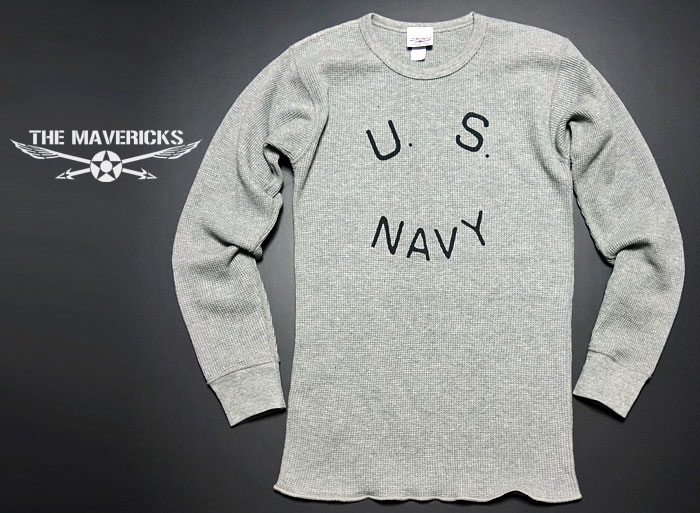 画像1: ミリタリー サーマル ワッフル 長袖 Tシャツ 米海軍NAVY ロゴ グレー (1)