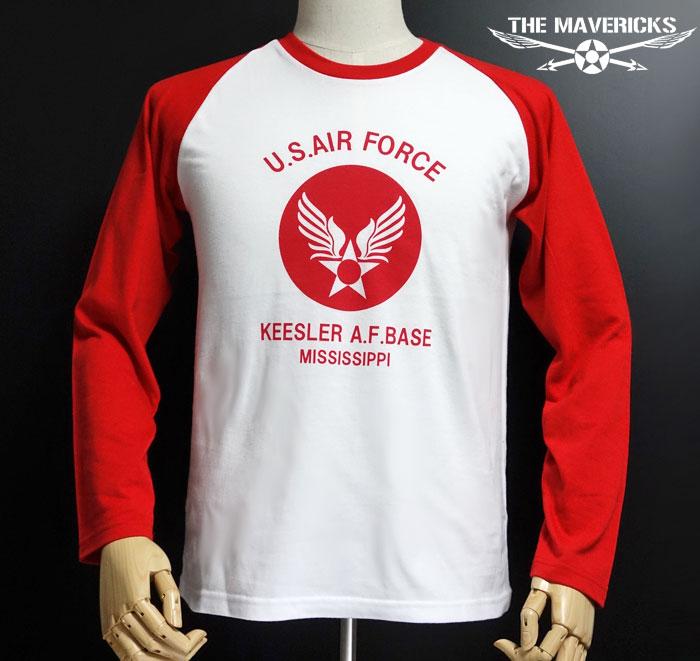 画像1: USAFエアフォース・長袖ラグランTシャツ・白×赤 (1)