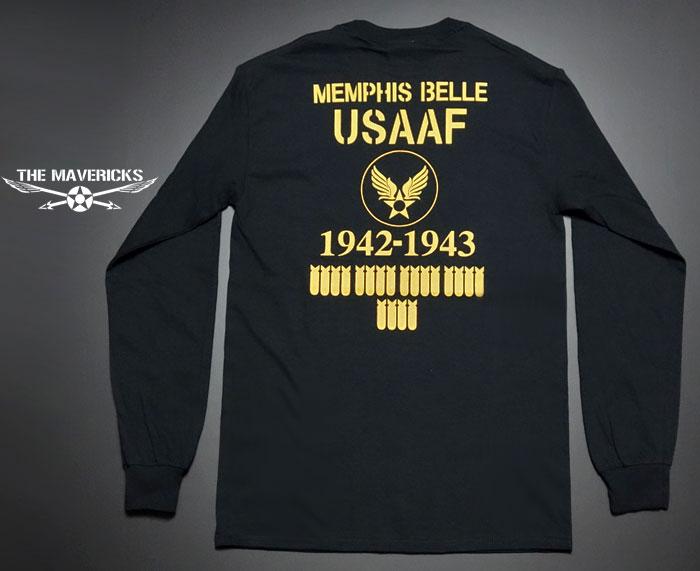 画像1: ミリタリー 長袖 ロング Tシャツ メンズ MAVEVICKS ブランド 6.1oz USコットン 爆弾エアフォース ブラック 黒 (1)