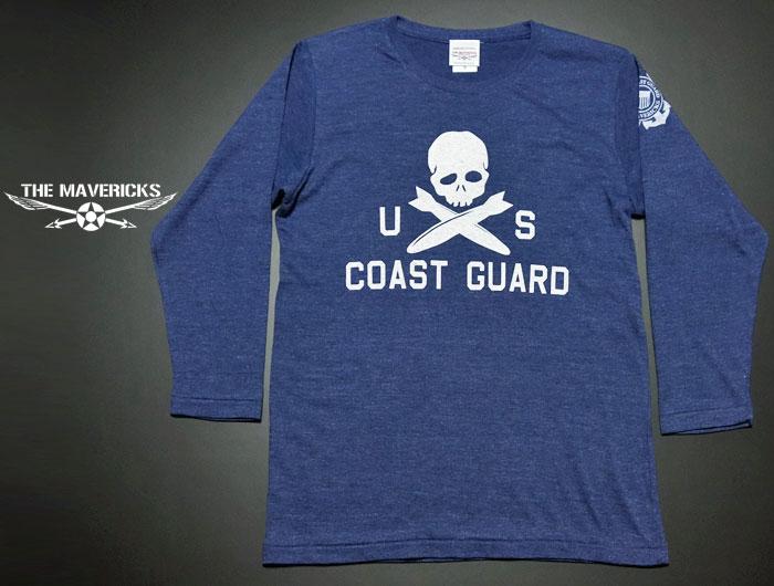 画像1: U.S.CoastGuard(アメリカ沿岸警備隊)スカル・8分丈Tシャツ・ヘザーネイビー (1)