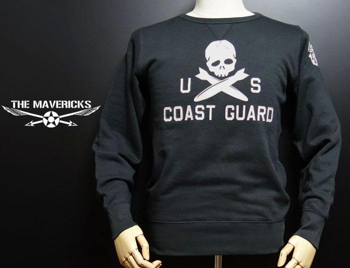 画像1: ミリタリー スウェットトレーナー 8.4oz 裏パイル U.S.CoastGuard アメリカ沿岸警備隊 スカルモデル / スミ黒 (1)