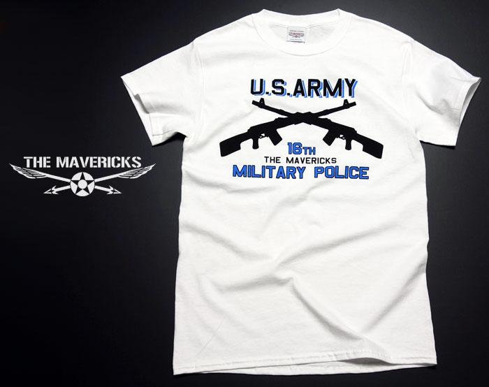 画像1: ARMY「ミリタリーポリス」2丁マシンガン・Tシャツ・白 (1)