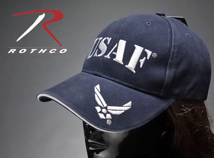 画像1: ミリタリー ベースボールキャップ 米空軍オフィシャル品 ROTHCO ブランド USAF ロゴ  刺繍/ネイビー 紺 (1)