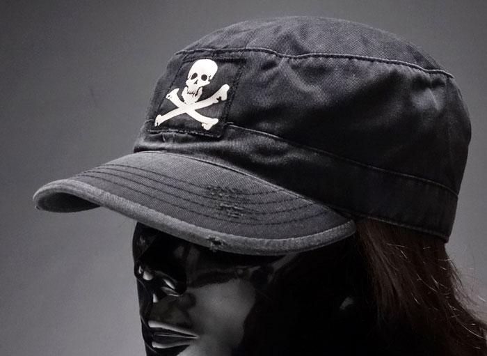 画像1: キャップ メンズ 帽子 ミリタリー JOLLY ROGER 海賊旗 ヴィンテージキャップ ROTHCO ロスコ ブランド /ブラック 黒 (1)