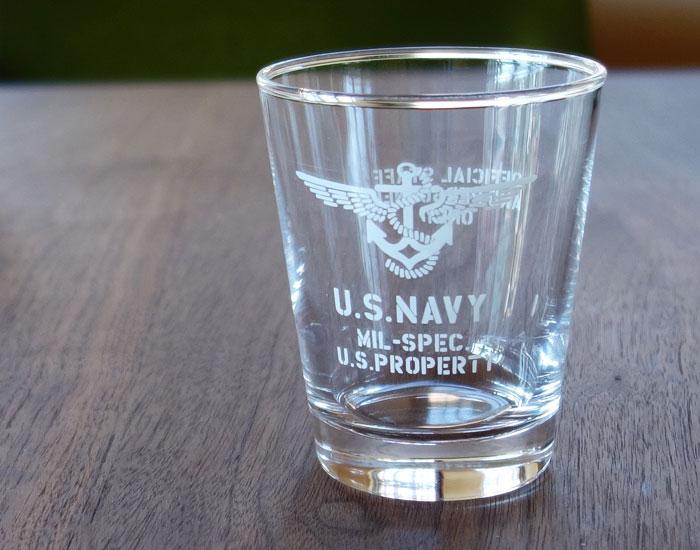 画像1: 日本製・「U.S.NAVY」ミリタリーグラス・ホワイト (1)