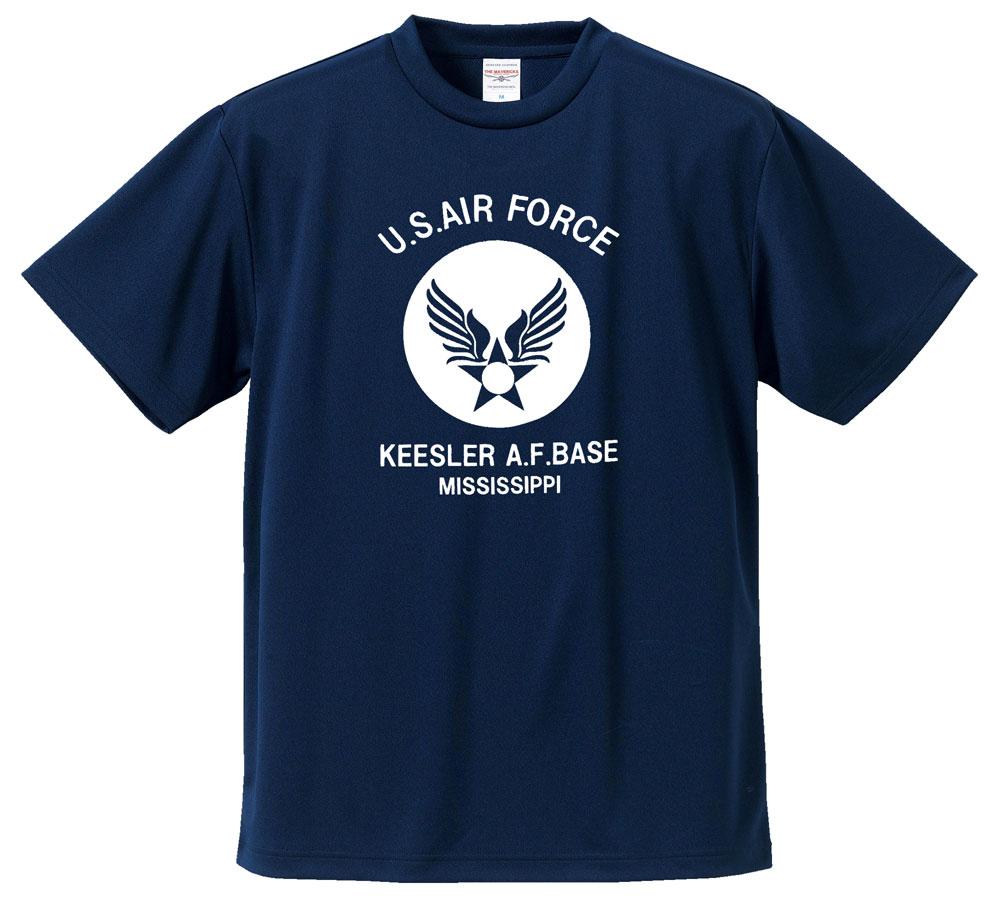 画像1: 水陸両用 ラッシュガード にも使える ドライ Tシャツ メンズ 半袖 USAF エアフォース / ネイビー 紺 (1)