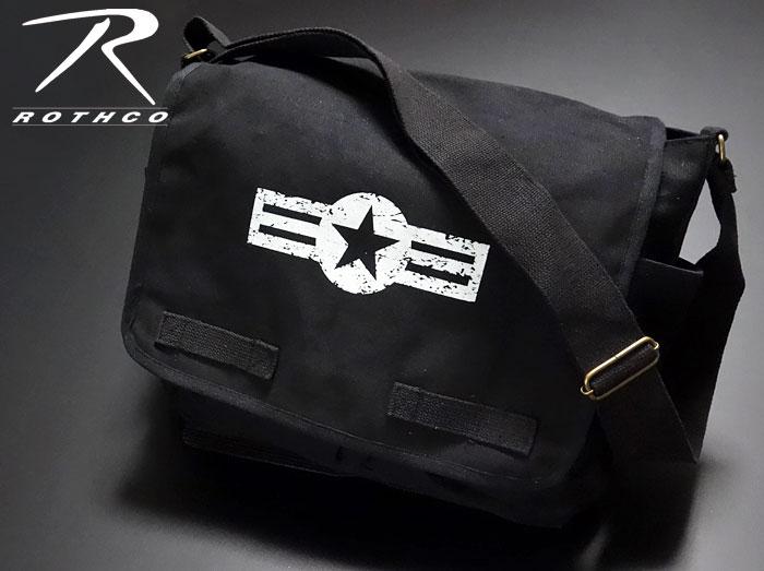 画像1: 大容量 メンズ ショルダーバッグ ROTHCO ロスコ 社製 メッセンジャーバッグ ARMY AIRCORP /ブラック 黒 (1)