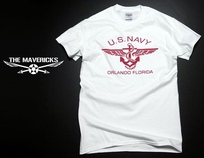 画像1: ミリタリー 半袖 Tシャツ US NAVY 米海軍 錨マーク MAVERICKS / ホワイト ボルドー (1)