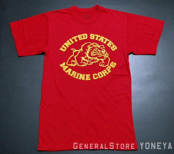 画像1: Tシャツ メンズ 半袖 ミリタリー ROTHCO US MARINE オフィシャル品 ブルドッグ/赤 レッド (1)