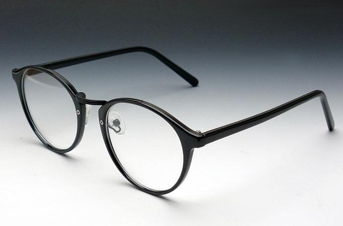 画像1: 送料無料!ビンテージな雰囲気!ブラックボストン型・伊達メガネ (1)