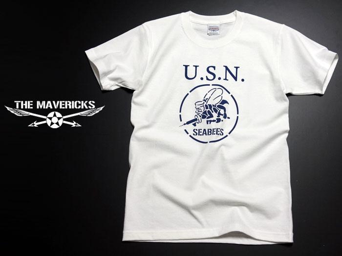 画像1: 極厚 スーパーヘビーウェイト Tシャツ 半袖 ミリタリー NAVY 米海軍 SeaBees / 白 ホワイト (1)