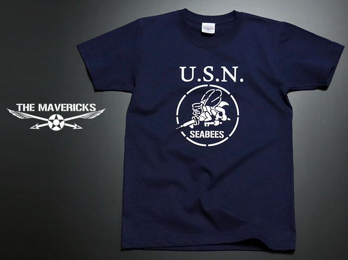 画像1: 極厚 スーパーヘビーウェイト Tシャツ 半袖 ミリタリー NAVY 米海軍 SeaBees / 紺 ネイビー (1)