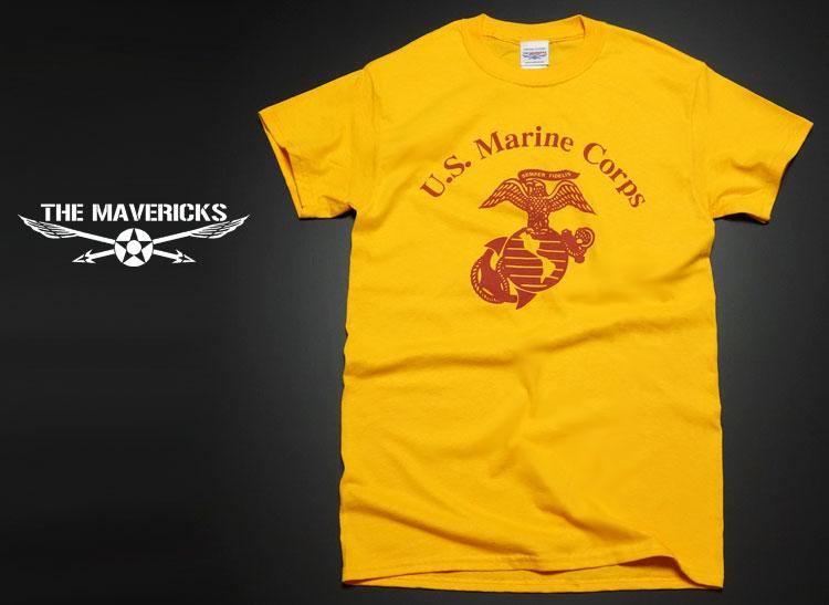 画像1: Tシャツ ミリタリー USマリン U.S.MARINE 米海兵隊 MAVERICKS ブランド / イエロー 黄 (1)