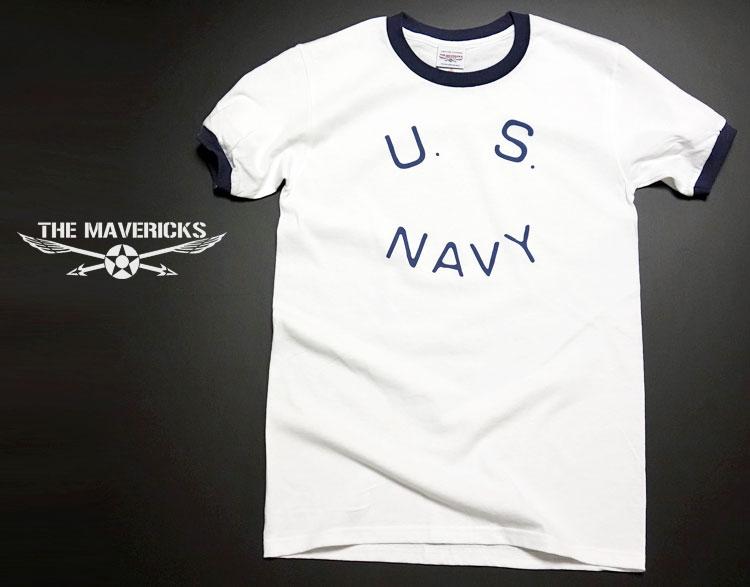 画像1: Tシャツ US NAVY 米海軍  ロゴ ミリタリー トリム リンガ ー Tシャツ / 白 紺 ネイビー (1)