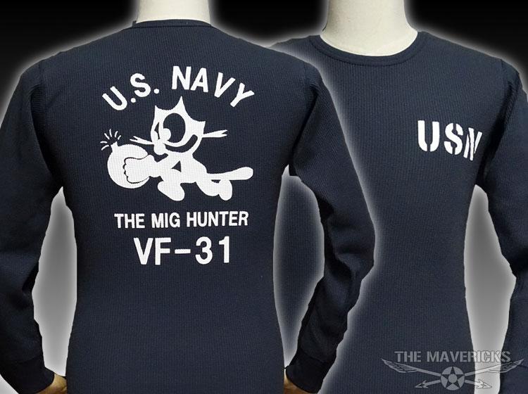 画像1: ミリタリー サーマル ワッフル 長袖 ロングTシャツ 米海軍NAVY 黒猫 / ネイビー (1)