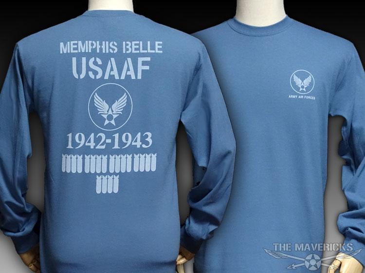 画像1: 爆弾エアフォース・「THE MAVERICKS」ミリタリー長袖Tシャツ・インディゴ (1)