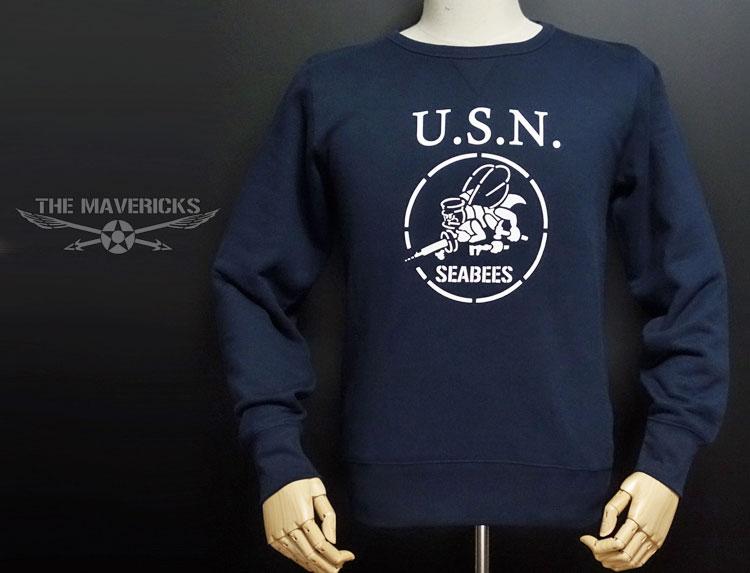 画像1: ミリタリー スウェット トレーナー メンズ 長袖 MAVEVICKS ブランド 8.4oz 裏パイル NAVY 米海軍 SeaBees ネイビー 紺 (1)