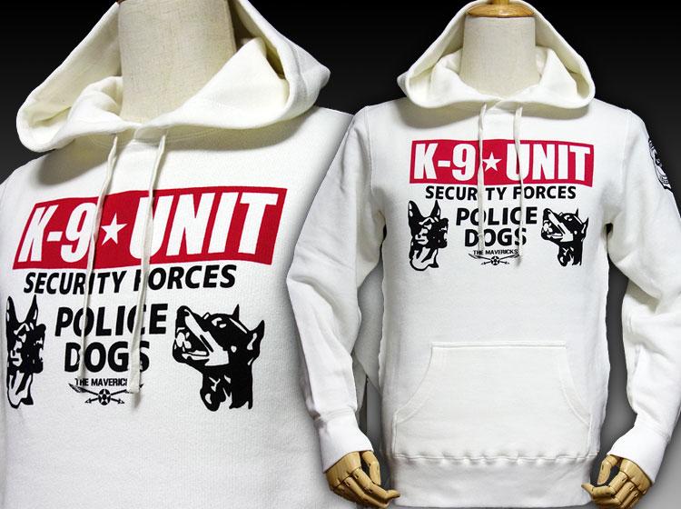 画像1: プルオーバー スウェット パーカー ミリタリー メンズ MAVEVICKS ブランド 8.4oz 裏パイル K9-UNIT 警察犬部隊 ホワイト 白 (1)