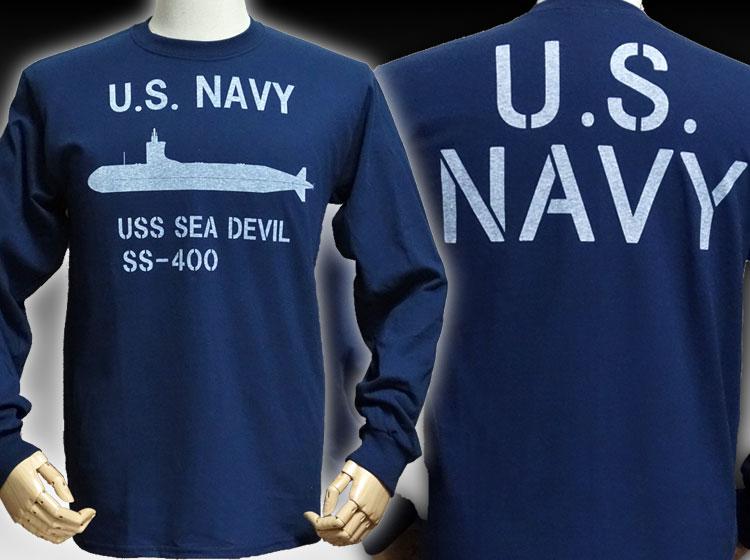 画像1: サブマリンNAVY米海軍・「THE MAVERICKS」ミリタリー長袖Tシャツ・ネイビー (1)