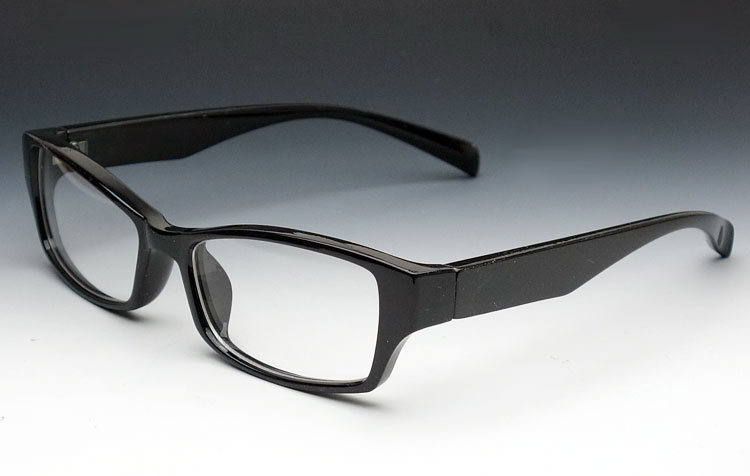 画像1: シンプルシャープな細めのスクエア系ダテメガネ・黒ブラック (1)