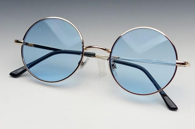 画像1: シンプルなオーバル型サングラス・丸目メタルモデル・ブルー (1)