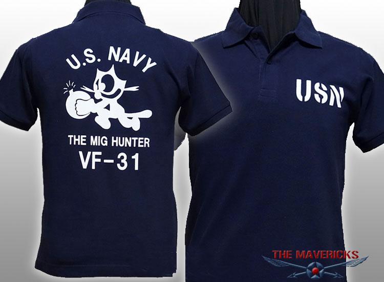 画像1: ミリタリー ポロシャツ 半袖 吸汗速乾 ドライ 米海軍 NAVY 黒猫 / 紺 ネイビー (1)